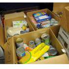 Boxes of food in a food bank