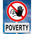 Image symbol for STOP above a streets sign reading POVERTY