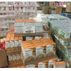Cases of food in a food bank