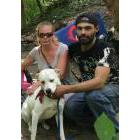 Billy Case, right, has been living along the rail trail with his girlfriend AJ and their dog Mystery for the past month or so after getting kicked out of an apartment and various spots on the street