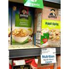 Cereals on a grocery store shelf