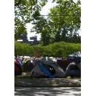 Tents are seen in Oppenheimer Park in this image from Aug. 7, 2019