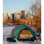 A tent with the Toronto skyline in the background