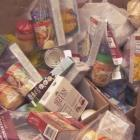 Food bank donations in boxes