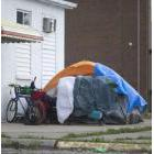 Tent at the back of a building in downtown Windsor