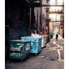 Person walking pst dumpsters in an alleyway