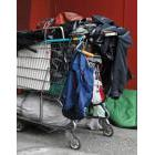 A shopping cart loaded with belongings