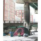A tent under the Gardiner Expressway