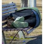 Person sleeping on a bench