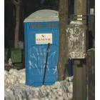 The portable toilet where a homeless man was found dead