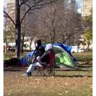 Homeless people in a downtown park