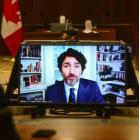Prime Minister Justin Trudeau appears as a witness via videoconference during a House of Commons finance committee in the Wellington Building on Thursday, July 30, 2020