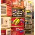 Canned ham in piles